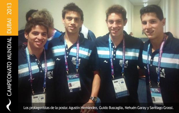 Agustín Hernández , Nehuén Garay, Santiago Grassi y Guido Buscaglia quedan rankeados 11 en el mundial juvenil de natación