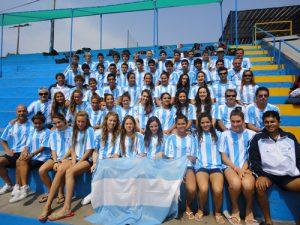 Julia Sebastián en viaje con la Selección Argentina.