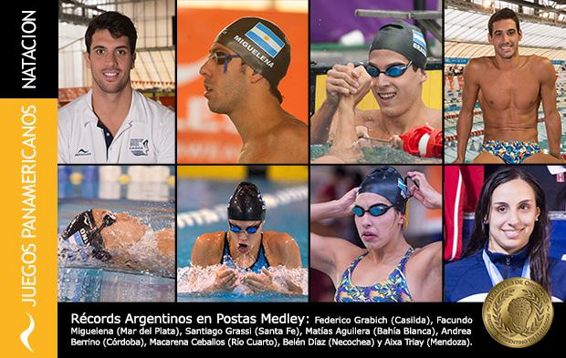 Dos nuevos récords argentinos de natación en las postas medley en los Juegos Panamericanos Toronto 2015