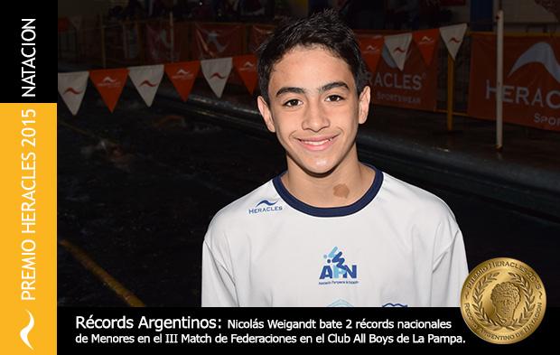 Nicolás Weigandt se lleva el Premio Heracles 2015 en Categoría Menores