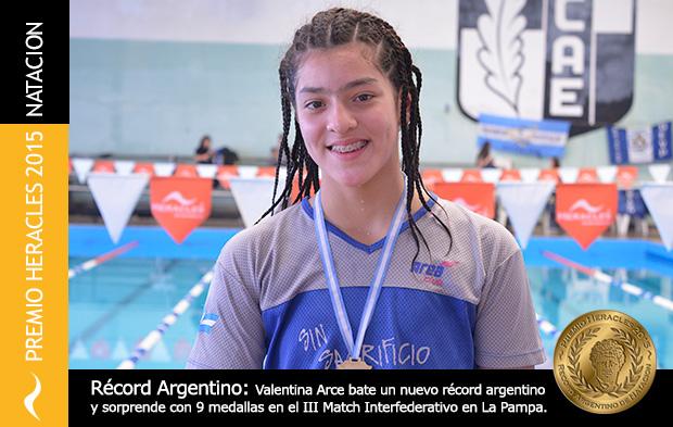Valentina Arce se lleva el Premio Heracles de Natación 2015 en la categoría Menores