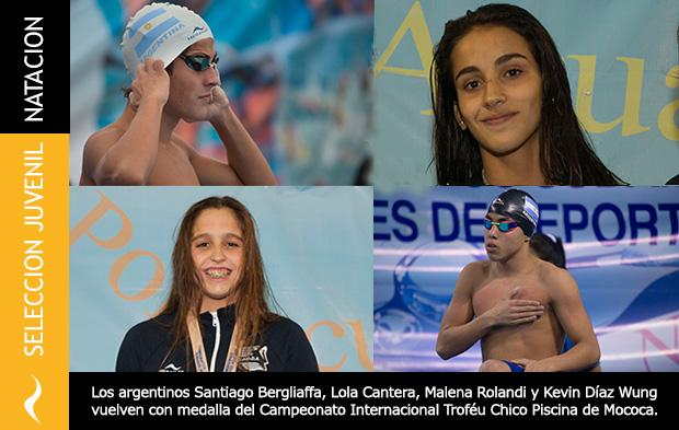 Santiago Bergliaffa, Lola Cantera, Malena Rolandi y Kevin Díaz Wung vuelven con medalla del Campeonato Internacional Troféu Chico Piscina de Mococa