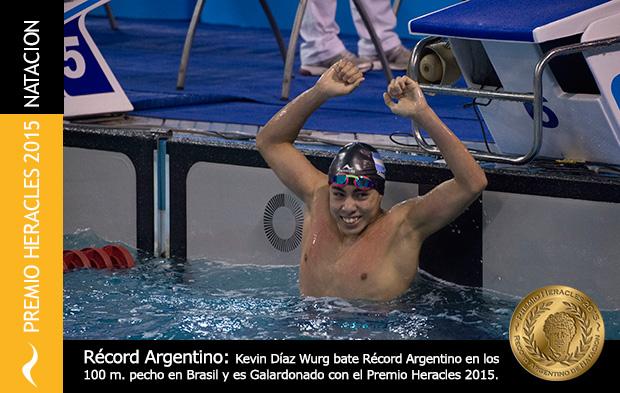 El nadador Kevin Díaz Wurg se corona campeón en Brasil y recibe el Premio Heracles 2015