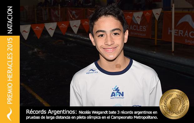 Nicolas Weigandt bate nuevos récords Argentinos de Natación y se lleva el Premio Heracles
