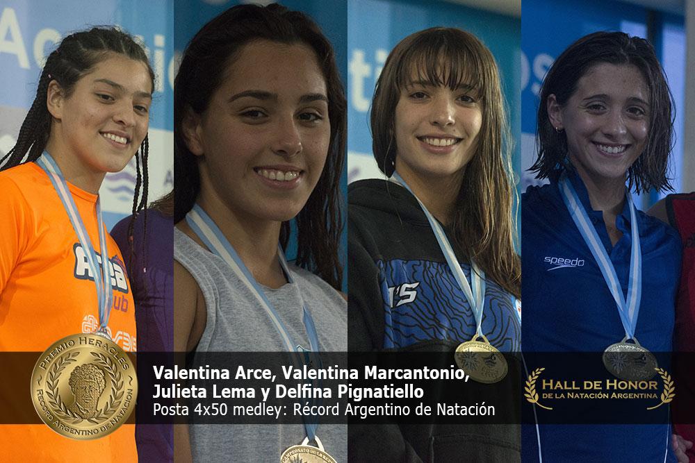 Valentina Arce, Valentina Marcantonio, Julieta Lema y Delfina Pignatiello: Premio Heracles de Natación