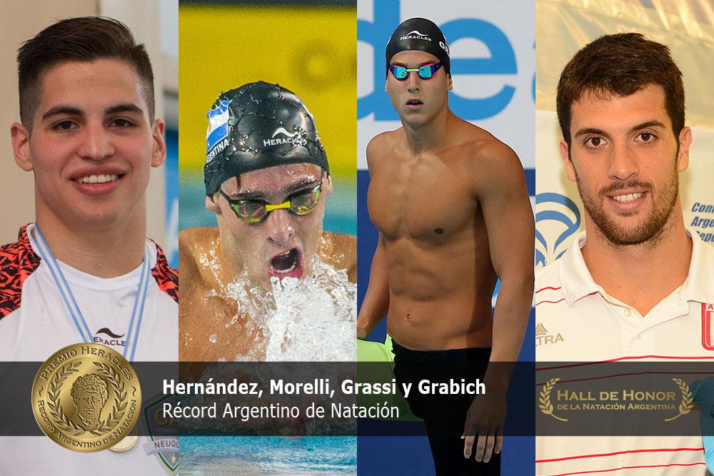 Hernández, Morelli, Grassi y Grabich: Premio Heracles de Natación